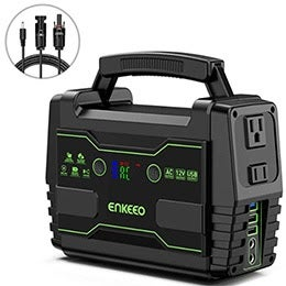 ENKEEO Portable Power Station  If you're looking for a portable power solution that won't break the bank, check out the ENKEEO Portable Power Station . This portable generator gives you green energy at a budget price